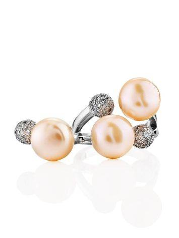 Designer Silver Pearl Adjustable Ring, Ring Size: 6.5 / 17, image , picture 5