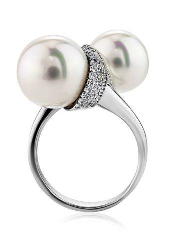 Fabulous Bypass Design Silver Pearl Ring, Ring Size: 7 / 17.5, image