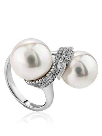 Fabulous Bypass Design Silver Pearl Ring, Ring Size: 7 / 17.5, image , picture 4