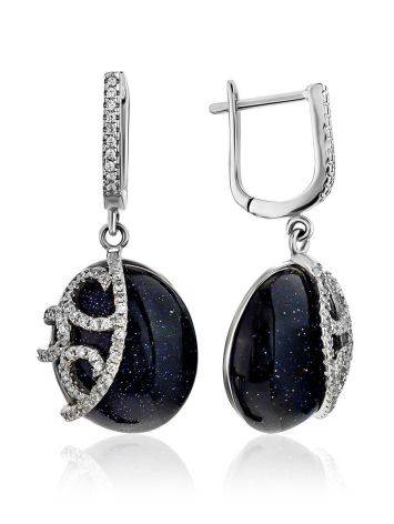 Voluptuous Silver Aventurine Dangle Earrings With Shimmering Crystals, image
