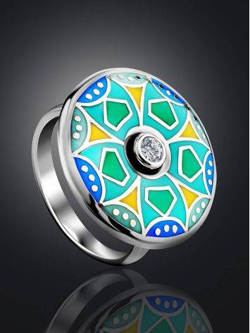 Colorful Silver Enamel Ring With Crystal Centerpiece, Ring Size: 7 / 17.5, image , picture 2