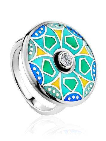 Colorful Silver Enamel Ring With Crystal Centerpiece, Ring Size: 7 / 17.5, image