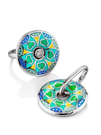 Colorful Silver Enamel Ring With Crystal Centerpiece, Ring Size: 7 / 17.5, image , picture 3