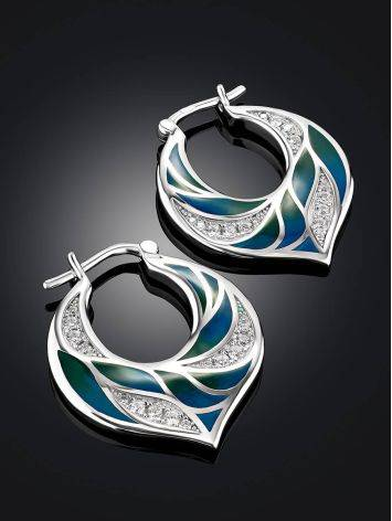 Colorful Silver Enamel Earrings, image , picture 2
