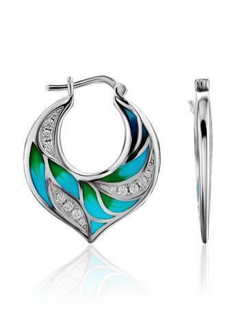 Colorful Silver Enamel Earrings, image