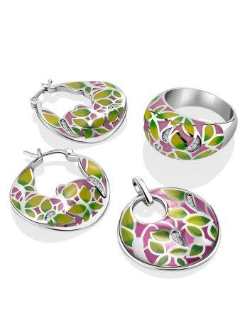 Bright Mix Color Enamel Hoop Earrings, image , picture 4