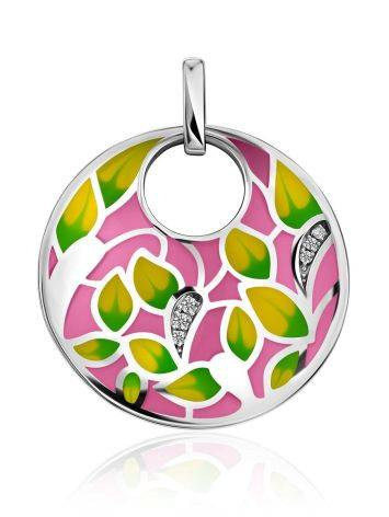 Amazing Silver Enamel Pendant With Crystals, image
