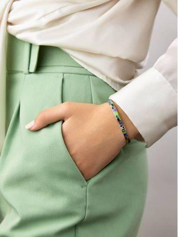 Playful Design Silver Enamel Bangle Bracelet, image , picture 4