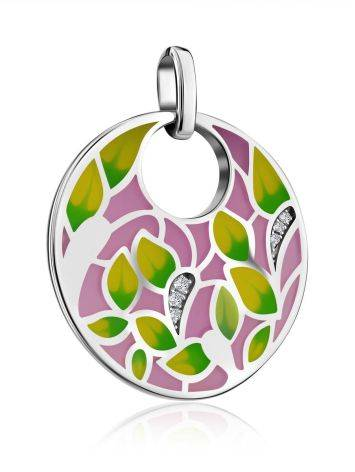 Amazing Silver Enamel Pendant With Crystals, image , picture 4