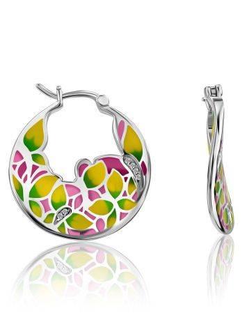 Bright Mix Color Enamel Hoop Earrings, image