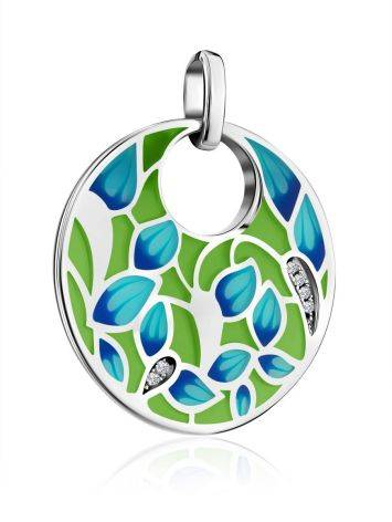 Flat Round Enamel Pendant With Crystals, image , picture 4