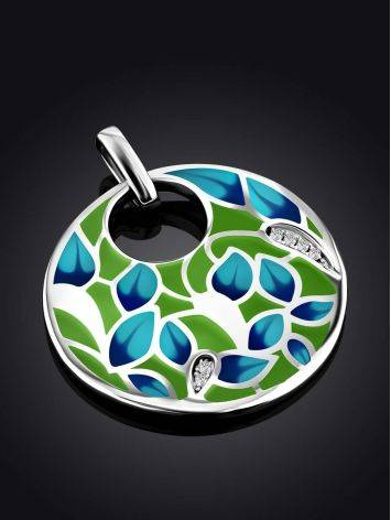 Flat Round Enamel Pendant With Crystals, image , picture 2