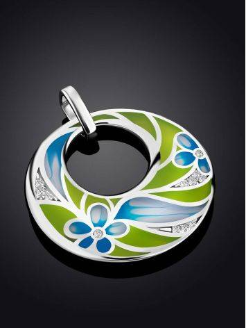 Flat Round Silver Pendant With Mix Color Enamel, image , picture 2