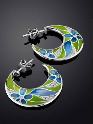 Floral Design Silver Enamel Hoop Earrings, image , picture 2
