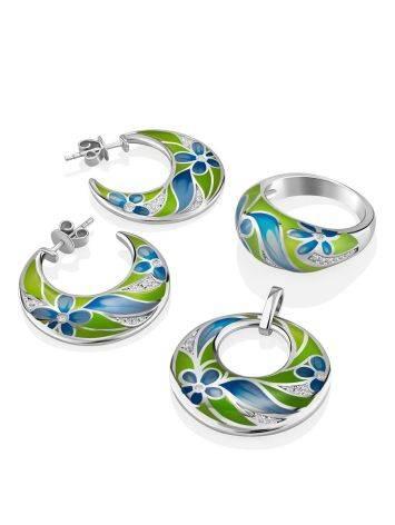 Floral Design Silver Enamel Hoop Earrings, image , picture 3