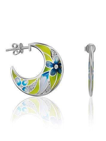 Floral Design Silver Enamel Hoop Earrings, image