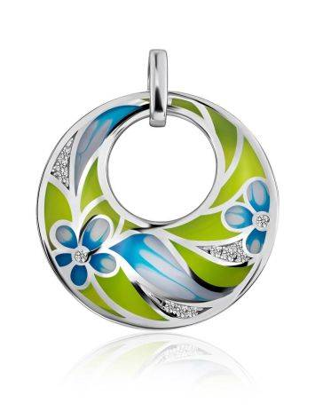 Flat Round Silver Pendant With Mix Color Enamel, image
