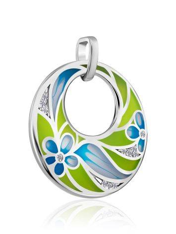 Flat Round Silver Pendant With Mix Color Enamel, image , picture 3