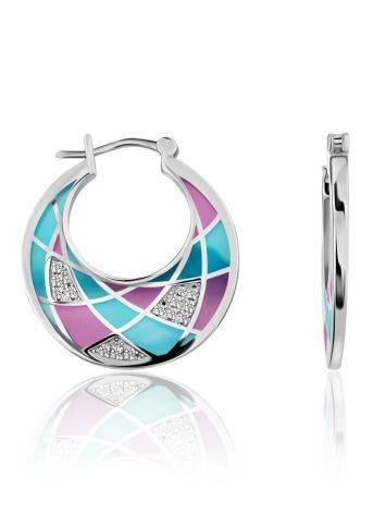 Fashionable Silver Enamel Hoops, image