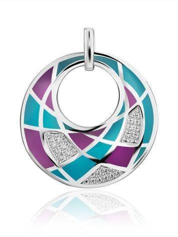 Chic Round Pendant With Mix Color Enamel, image