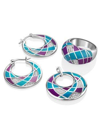 Fashionable Silver Enamel Hoops, image , picture 3