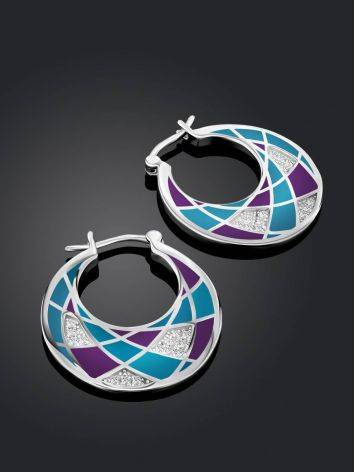 Fashionable Silver Enamel Hoops, image , picture 2