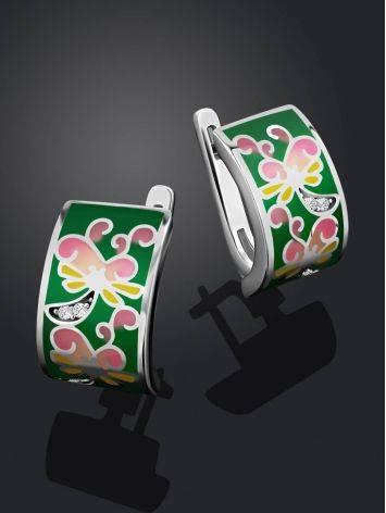 Playful Design Silver Enamel Earrings, image , picture 2