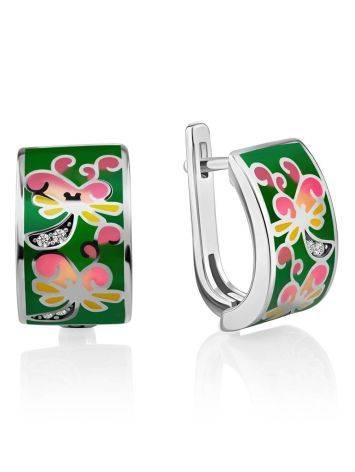 Playful Design Silver Enamel Earrings, image