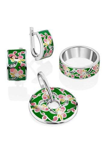 Playful Design Silver Enamel Earrings, image , picture 3