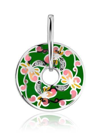 Bright Silver Enamel Pendant With Crystals, image