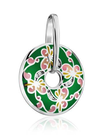 Bright Silver Enamel Pendant With Crystals, image , picture 3