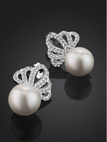 Classy Silver Pearl Stud Earrings With Crystals, image , picture 2