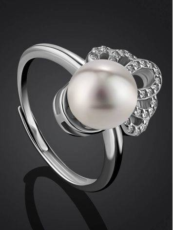Chic And Classy Silver Pearl Ring, Ring Size: 8.5 / 18.5, image , picture 2