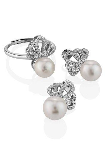 Classy Silver Pearl Stud Earrings With Crystals, image , picture 3