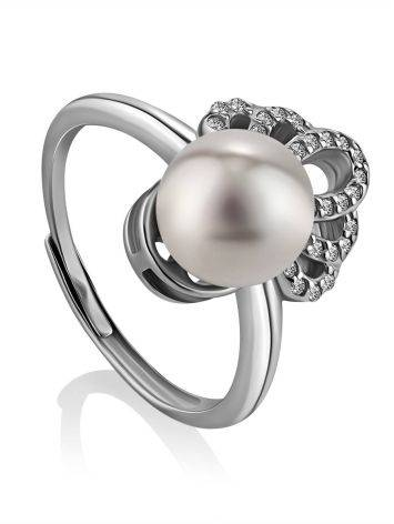 Chic And Classy Silver Pearl Ring, Ring Size: 8.5 / 18.5, image