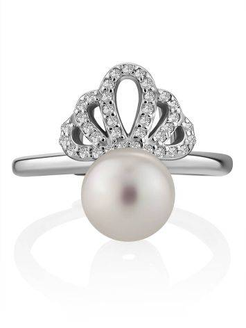 Chic And Classy Silver Pearl Ring, Ring Size: 8.5 / 18.5, image , picture 3