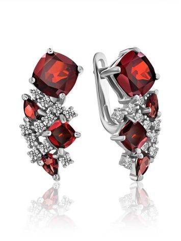 Ultra Feminine Silver Garnet Earrings, image