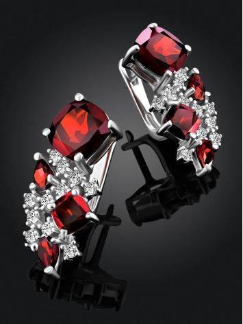 Ultra Feminine Silver Garnet Earrings, image , picture 2