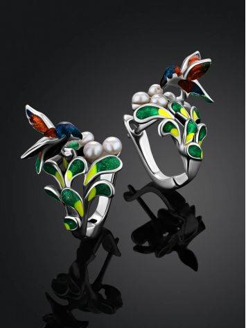 Designer Silver Enamel Earrings With Pearl, image , picture 2