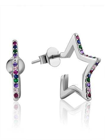 Star Shaped Silver Studs With Mix Color Crystals, image