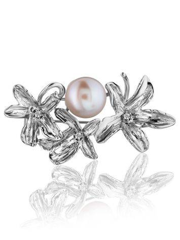 ClassyFloral Design Silver Brooch With Pearl And Crystals, image