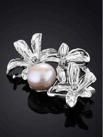 ClassyFloral Design Silver Brooch With Pearl And Crystals, image , picture 2