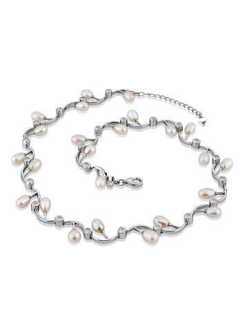 Refined Silver Necklace With Pearl And Crystals, image , picture 4
