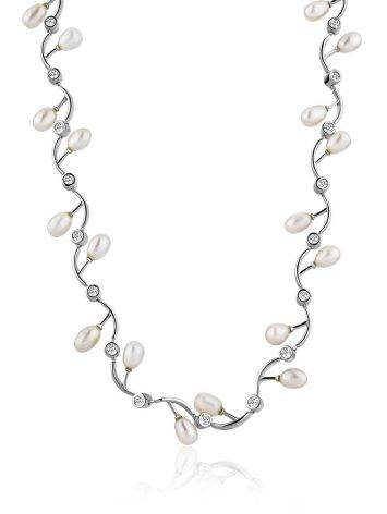 Refined Silver Necklace With Pearl And Crystals, image