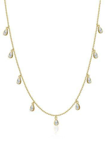 Trendy Gilded Silver Collar Necklace With Crystals, image