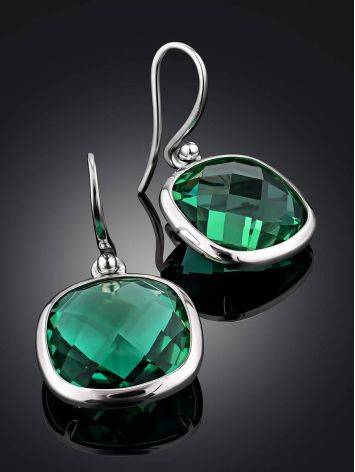 Bold Silver Prasiolite Drop Earrings, image , picture 2