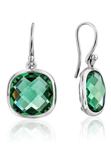 Bold Silver Prasiolite Drop Earrings, image
