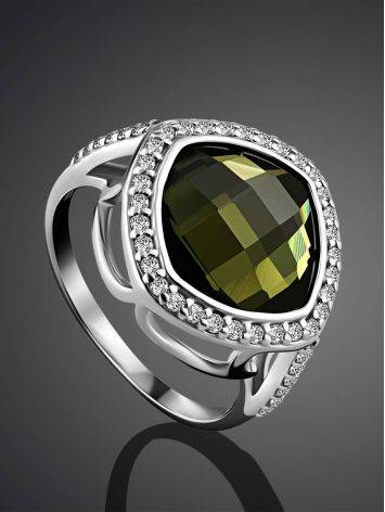 Voluminous Silver Tourmaline Ring, Ring Size: 6 / 16.5, image , picture 2