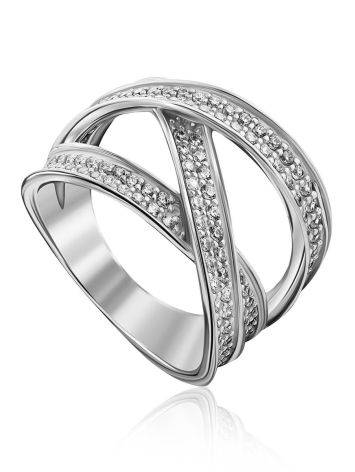 Trendy Silver Crystal Trinity Ring, Ring Size: 8 / 18, image