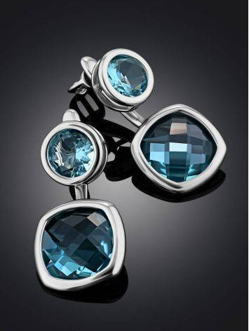 Transformable Silver Topaz Stud Earrings, image , picture 2